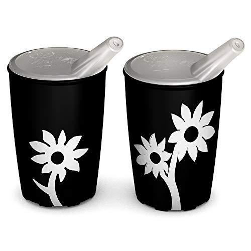 Ornamin Becher mit Anti-Rutsch Blume 220 ml schwarz/weiß und Schnabelaufsatz 2er-Set (Modell 820 +...