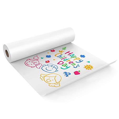 KAVAVO Rollo de Papel Blanco para Manualidades, 44cm x 10m, Ideal para Papel de Caballete, Papel de Borla, Arte de Pared, Papel de Regalo(1 PCS)