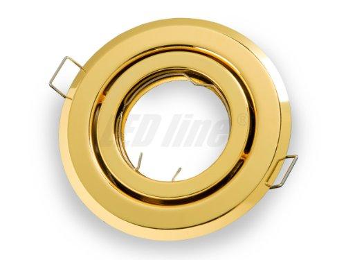 Einbaustrahler, LED und Halogen Einbauspot Spot Rund Metall Gold ideal für LED Lampen + GU10 Fassung, Beta