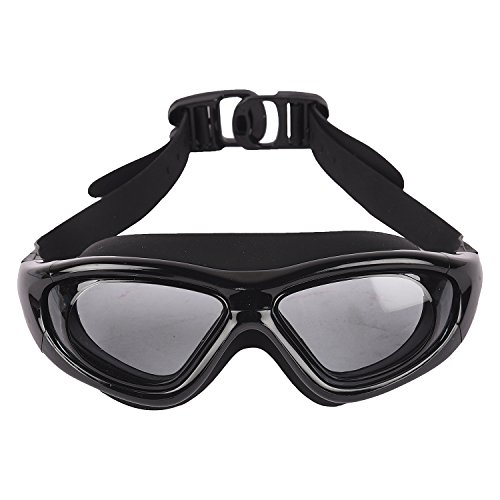 Arrowmax Wide lense Silicone Swimming Goggle - Anti Fog lense Promotes Visibility Under Water | Ideal for Men, Women and Kids | Comfortable and Skin Friendly Material - ASG-9100 (Black)
