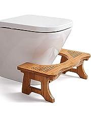 GEF Taburete de baño en Cuclillas, Taburete de bambú Antideslizante Ajustable para pies de baño Siéntese en el Taburete de baño en Cuclillas para Sentarse, 50 * 28 * 17.8cm