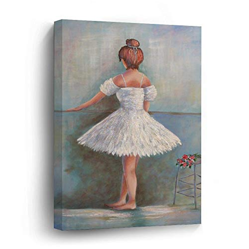 Yilooom Little Ballerina Modern Canvas Print Wood Framed Wall Art Painting for Home Decoration and Christmas Idea 12 X 16 Inch