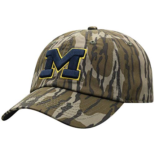 Mossy Oak Michigan Wolverines Men's Mossy Oak Bottomland Original Camo College Crew Adjustable Hat, Adjustable