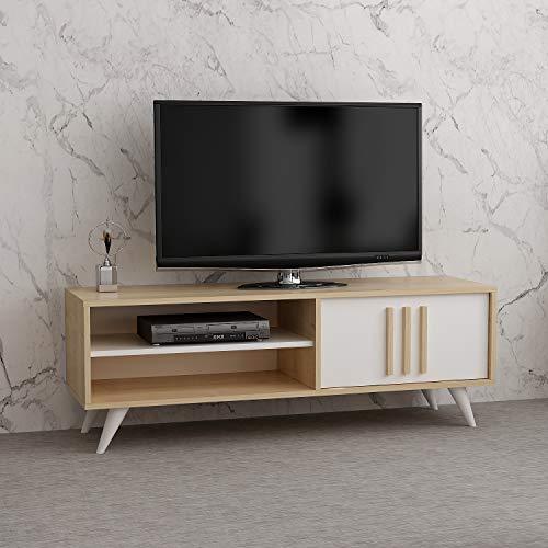 Reboz TV Lowboard 138 x 40 cm Ahorn Nachbildung Weiß Fernsehtisch