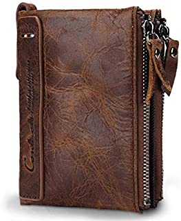 CONTACT'S HOT Genuine Crazy Horse Cowhide Leather Men Wallet Short Coin Purse Small Vintage Wallets High Quality Designer