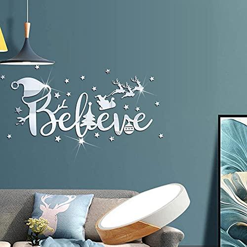 Decoración navideña carta estrella carro de ciervo estéreo acrílico espejo pegatina vacaciones autoadhesivo etiqueta de la pared-JM827 azul