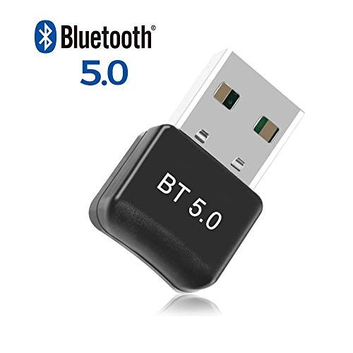 Bluetooth 5.0 USB Dongle Adapter, Bluetooth Transmitter Empfänger für Desktop, Laptop, Drucker, Headset, Lautsprecher, kompatibel, Bluetooth USB Dongle Stick mit Windows 7/8/8.1/10