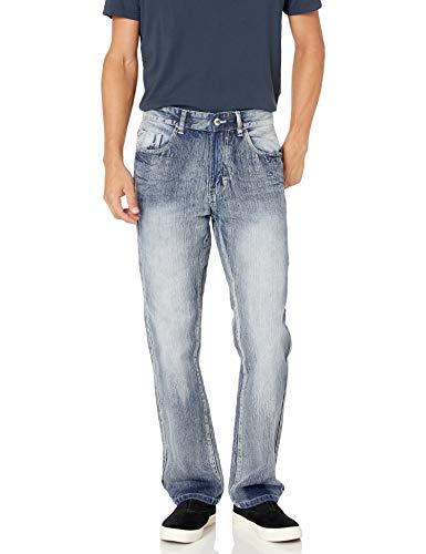 Southpole Men's 6181 Straight Fit Basic Streaky Denim Pants, Ice Blue 1, 34X32