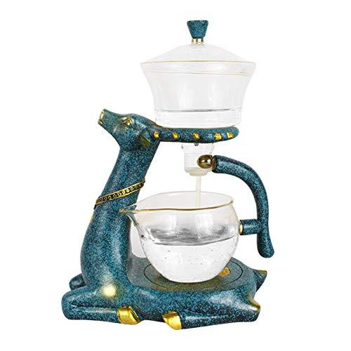 Fenteer Teiera di vetro Pentola a Goccia Infusore Tè Caffè Pentola resistente Al Calore di Tè di Vetro Teiera Tazza di Tè con Magnetica Cervi Del Basamento