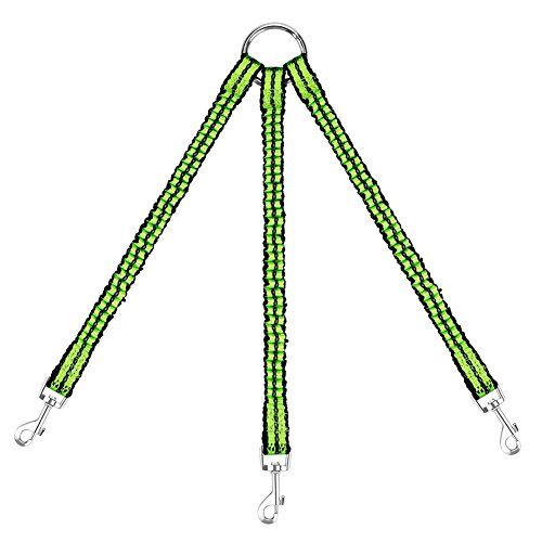 OxyPlay Heavy Duty Tangle Free 3/Three Way Dog Coupler Leash Triple Braid Split Lease Pet Leash for Walking 3 Small Dogs (Green) (3 Way Dog Leash)