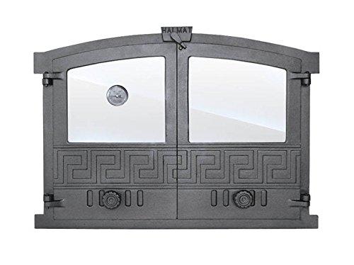 Backofentür Ofentür Pizzaofentür Holzbackofentür Steinbackofentür aus Gusseisen mit Thermometer und Ofenscheibe   Außenmaße: 600x430 mm   Öffnungsrichtung: zweiflügelig