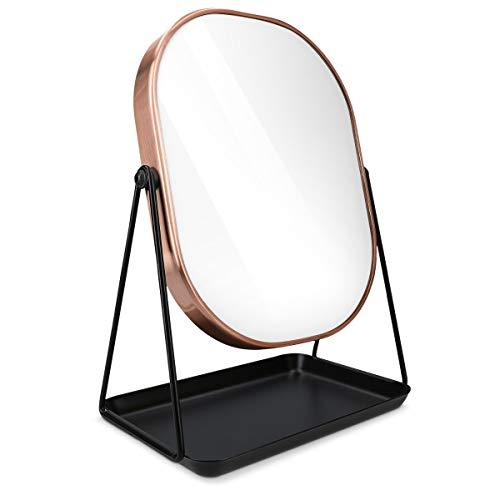 Navaris Specchio per Trucco da Tavolo con Portagioielli - Specchietto Cosmetico Ovale Make-Up 18x22,6cm - Girevole 360° con Portagioie - Design Rame