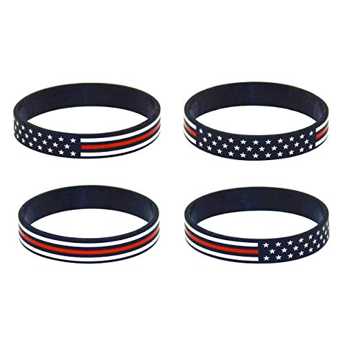 Great 1 American Flag Silicone Stretchable Bracelet 4-Pack (Thin Red Line)
