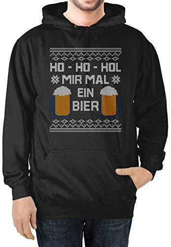 Weihnachten & Silvester - Ho Ho HOL Mir mal EIN Bier - XL - Schwarz - Weihnachten - JH001 - Herren Hoodie und Kapuzenpullover für Männer