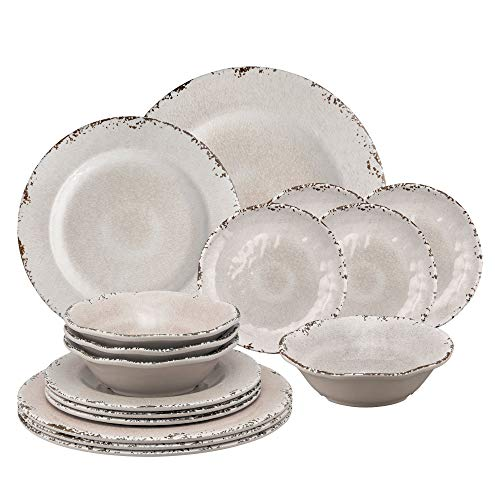 Gourmet Art 16-Piece Crackle Heavyweight and Durable Melamine Dinnerware Set, Cream, Service for 4. Includes Dinner Plates, Salad Plates, Dessert Plates and Bowls. for Everyday Use.