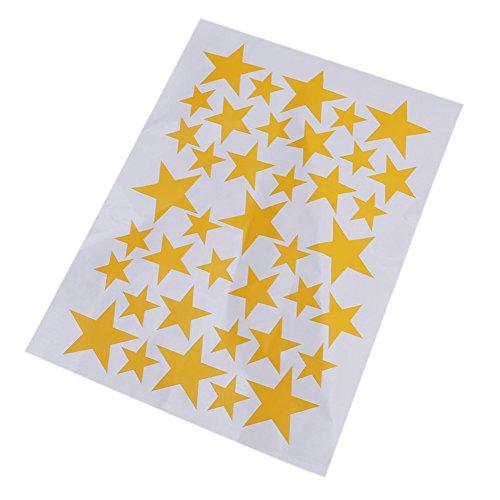 ODN 39pcs Stickers Autocollants Étoile à Cinq Rayons en Vinyle Décoration de Salle (Jaune)