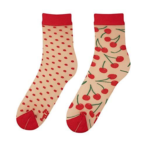 Dedoles Cherry & Dots Nylon-Socken, durchscheinend, mit Früchten, Einheitsgröße