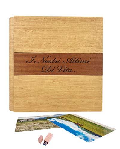 TriVin Art, Álbum de fotos de piel sintética de alta calidad, personalizable, con aplicación de madera, ideal para bautizos, bodas, comuniones y fotoricordes. Memoria USB 3.0 (32 GB) de regalo.
