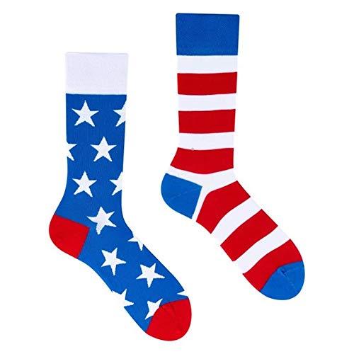 Alison Walton Lowasox - Stars and Stripes- Mismatched - ungleiche Socken - grablau, rot - Gr. 43-46