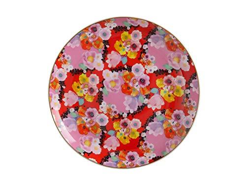 Maxwell & Williams Cashmere Bloems Assiette en porcelaine anglaise avec boîte Motif floral Noir, Porcelaine, Rouge, 19 cm