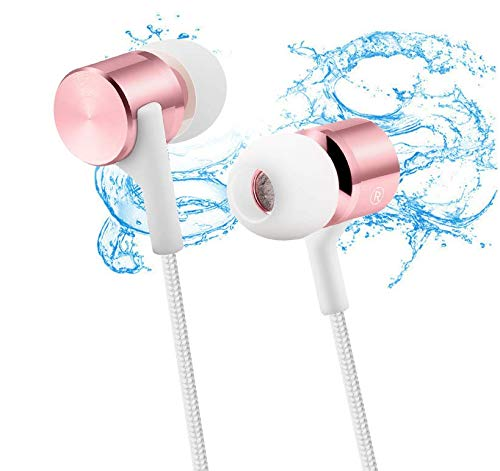 TENLUBEN Gorsun C8 in Ear Earbuds, Stereo Bass Headphones Noise Isolation Corded in-Ear Sport Earphones 3.5mm Jack +3 Pairs Secure Fit Wired Headsets (Rose Pink)