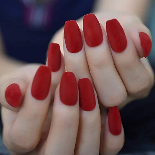 Terciopelo cálido Faux Classic China Red Festival Uñas postizas atractivas Forma de ataúd de tamaño medio Uñas de mujer con adhesivo