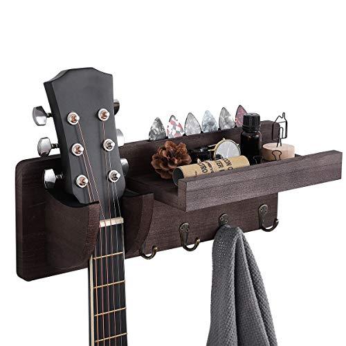ZULANI Perchero de pared para guitarra, soporte de pared de madera para guitarra, soporte de pared para guitarra con estante y 4 ganchos de metal para bajo eléctrico acústico