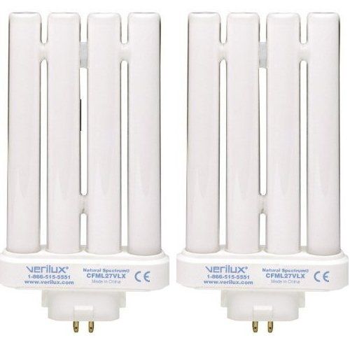 2 Pack Verilux CFML27VLX Natural Spectrum Replacement Bulb, 27 Watts