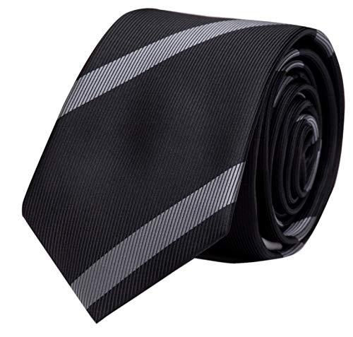 Fabio Farini - cravate rayée de différentes couleurs et largeurs hommes Noir-Gris 8 cm