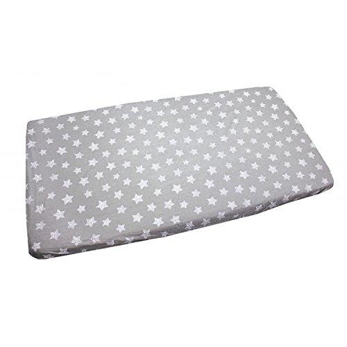 TupTam Baby Spannbetttuch mit Gummiband Gemustert ANK004, Farbe: Tupfen-Sterne Weiß/Grau, Größe: 90 x 200 cm