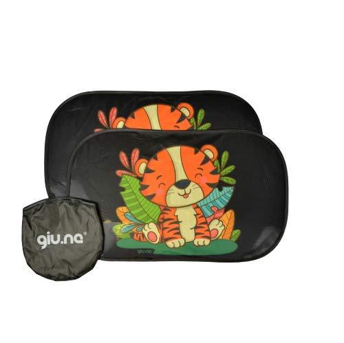 GIU.NE® Tendine Parasole auto per Bambini e Neonati - Accessori Oscuranti Per auto - Protezione ottimale raggi UV 80g/m²- 2 pezzi 51x31cm - Nere oscuranti con Tigrotto