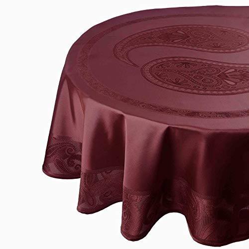 DecoHomeTextil Celebrate Deluxe Tischdecke Tafeldecke Festlich Schwere Qualität Weinrot 160 x 220 cm Oval Wasserabweisend