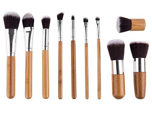 Maquillage Pinceau Haute Qualité 11 Poignée En Bambou Brosse Ombre À Paupières Brosse Soleil Pinceau Rouge Poudre Ensemble Envoyer Sac De Jute Toile De Jute