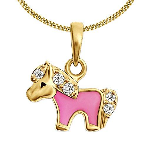 CLEVER SCHMUCK Set Vergoldeter Kleiner Kinder Anhänger Mini Pony rosa, viele Zirkonia glänzend Sterling Silber 925 und vergoldeter Kette Panzer 38 cm