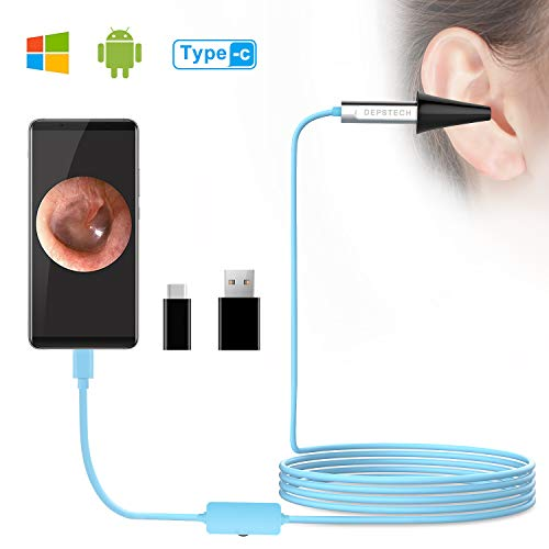DEPSTECH USB Otoscope, Digital Ear Scope Ear Inspection Camera Earwax Cleansing Tool with 6 LED Lights for Micro USB & USB-C Android Devices, Windows & MAC PC Computer