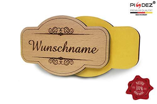 PISDEZ personalisiertes Vintage Türschild aus Holz - selbstklebend - Namensschild mit doppelseitigen Klebeband - Haustürschild mit Gravur - Briefkastenschild - Klingelschild - Form 1