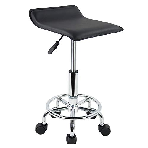 KKTONER Square Height Adjustable Rolling Stool with Foot Rest PU Leather Seat Cushion Medical Spa Drafting Salon Tattoo Work Swivel Office Stools Task Chair Small Black