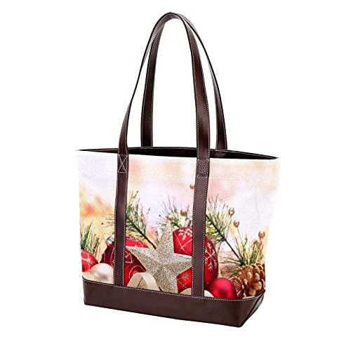 NaiiaN Geldbörse Shopping für Mutter Frauen Mädchen Damen Student Umhängetaschen Einkaufstasche Leichte Riemen Handtaschen Frohe Weihnachten Sterne Roter Ball