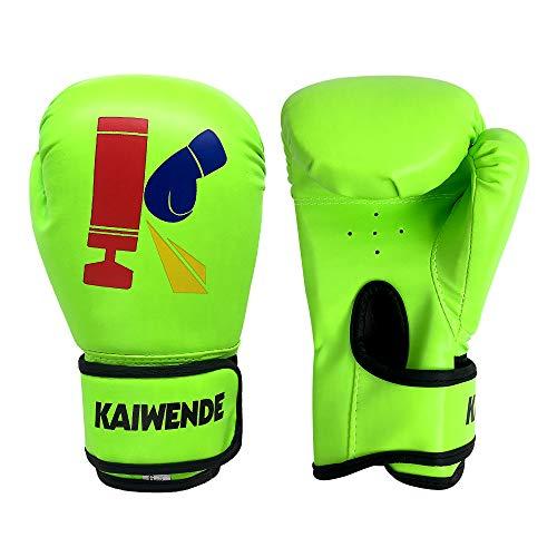KAIWENDE Kids Boxing Gloves,Children Or Youth Punching Bag,Muay Thai,Kickboxing Training Gloves (Green, 6 oz)