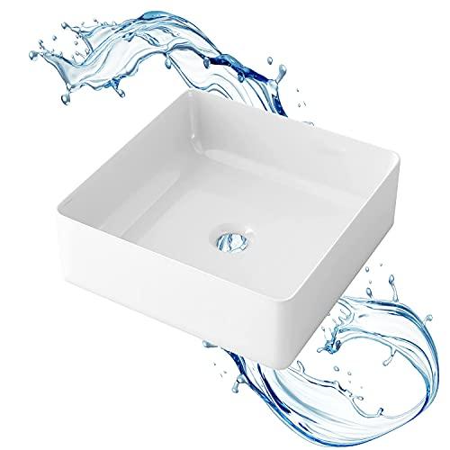 STARBATH PLUS - Lavabo sobre encimera rectangular blanco sin taladro grifo - Encimera baño - Lavabo sobre encimera cerámica - 31 x 31 x 11 cm