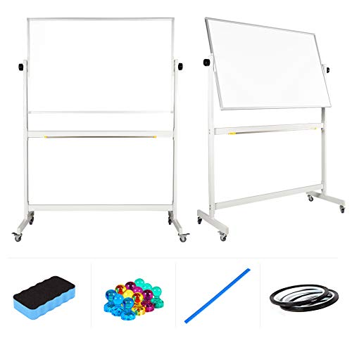 """Mobile Whiteboard 48"""" x 32"""" inch Magnetic Double Sided Flip Over Dry Erase Reversible Portable Home Office Classroom Mobile White Board with Magnetic Eraser Ruler 12 Push Pin Magnets 2 Gridding Tapes"""