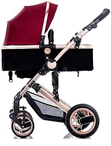 YQLWX Cochecito de bebé Cochecito de bebé Carro de bebé Buggy Buggy Puede Sentarse y acostarse para 0-3 años de antigüedad Cochecito de Cochecito Marco de Aluminio, Negro