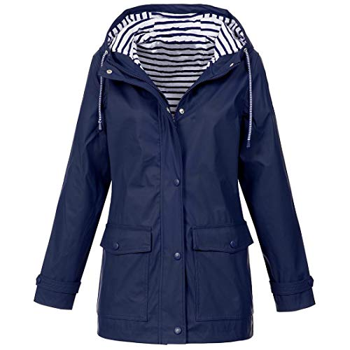 ZGRNPA Damska damska pikowana zimowa kurtka z futrzanym kołnierzem kurtka z kapturem rozmiar parka nowa kurtka - wodoodporna kurtka przeciwdeszczowa, regulowany kaptur damska zimowa trójlimatna kurtka, pakowany kaptur - idealny, G-niebieski, XL