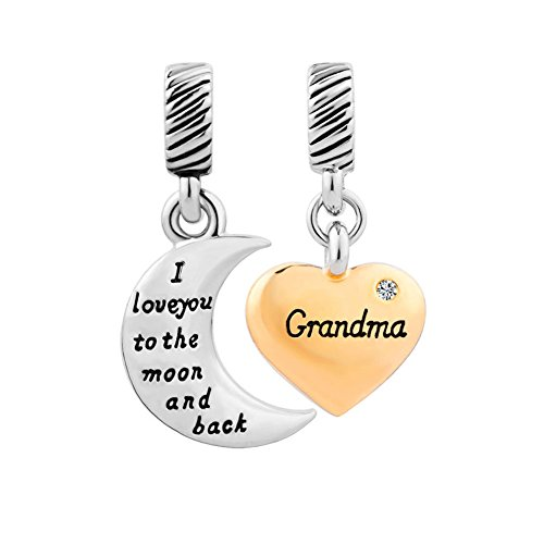 Charmed Craft corazón I Love You a la luna y Volver Abuela charms Dangle Beads Fit Pandora Pulsera, mujer, Diamond