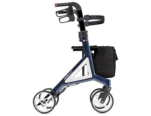 Bischoff Alevo Alu Leichtgewichtrollator Rollator - Integrierte Reflektoren - Rückengurt - abnehmbare Tasche (Nachtblau)