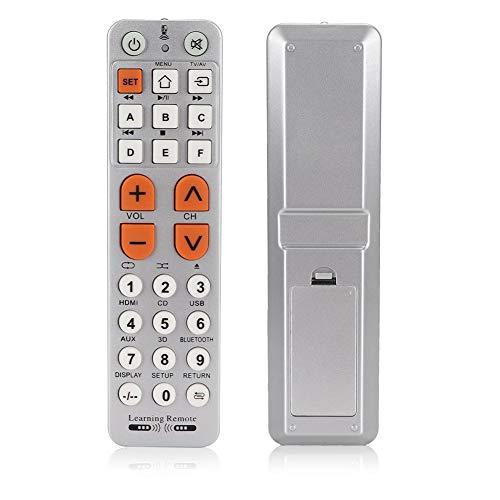 Socobeta Botón Grande Controlador de Control Remoto Durable Compatible con VCR DVD Tipo de Aprendizaje Robusto para TV
