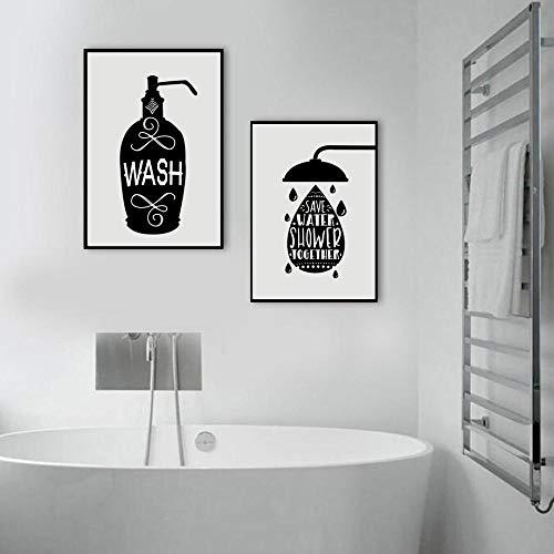 CNHNWJ muurkunst canvas schilderij toiletpapier tandenborstel hand zeep citaten Nordic poster en afdrukken wandafbeeldingen voor badkamer decoratie (40x60 cm x 2 / geen lijst)