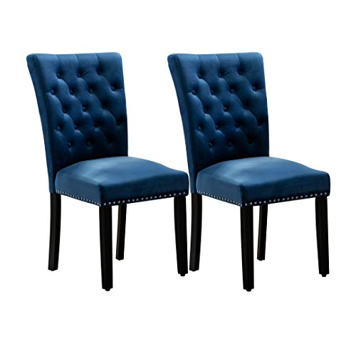 Pekko Home Parsons Upholstered Accent Dining Chair, Set of 2 (Blue)