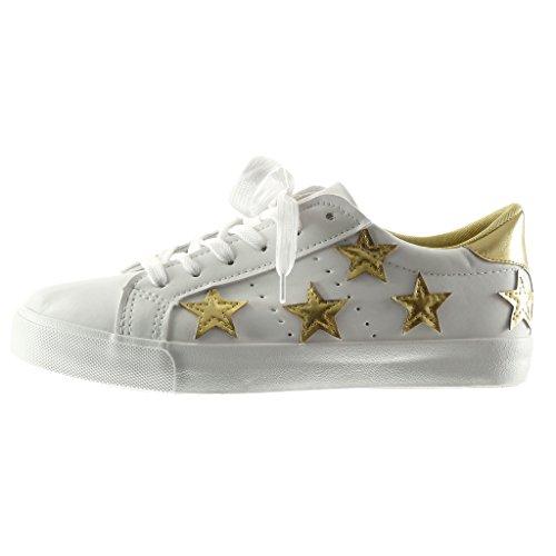 Angkorly - Damen Schuhe Sneaker - Stern - Bestickt Flache Ferse 2.5 cm - Weiß Gold PQ-5 T 39