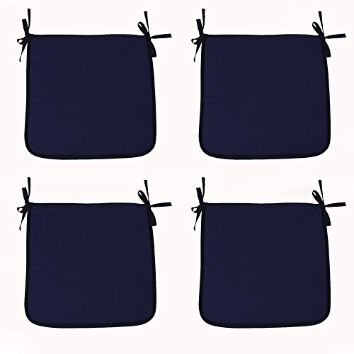 SIMPVALE Set of 4 Chair Cushions with Ties - Square Chair Pads for Office Home Garden Outdoor Indoor (15.7x15.7x1.2inch/40x40x3cm, Navy Blue)
